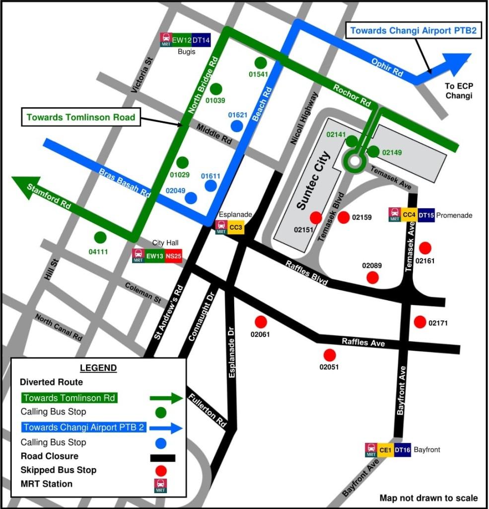 Formula 1 Diversions - Service 36 diversion map (Originally produced by SBS Transit)