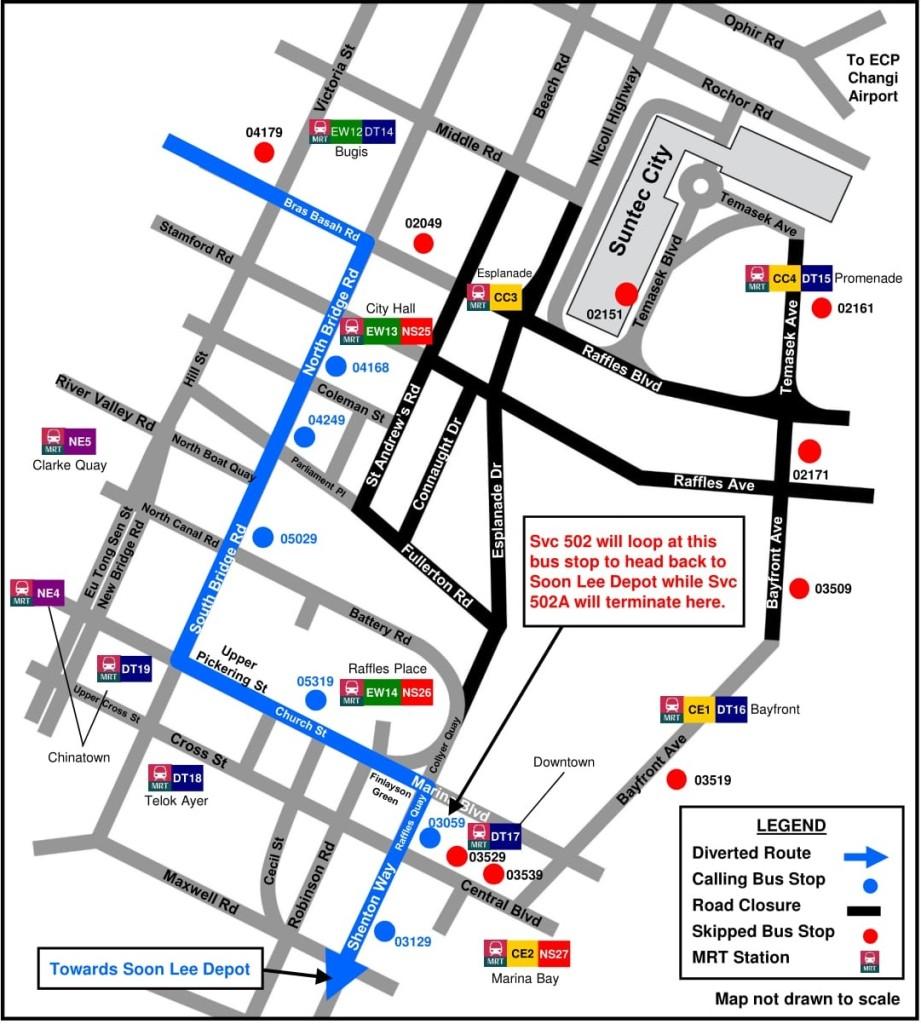 Formula 1 Diversions - Service 502 diversion map
