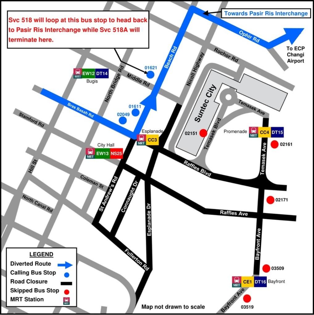 Formula 1 Diversions - Service 518 diversion map (Originally produced by SBS Transit)