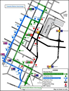 Formula 1 Diversions - Service 57 diversion map