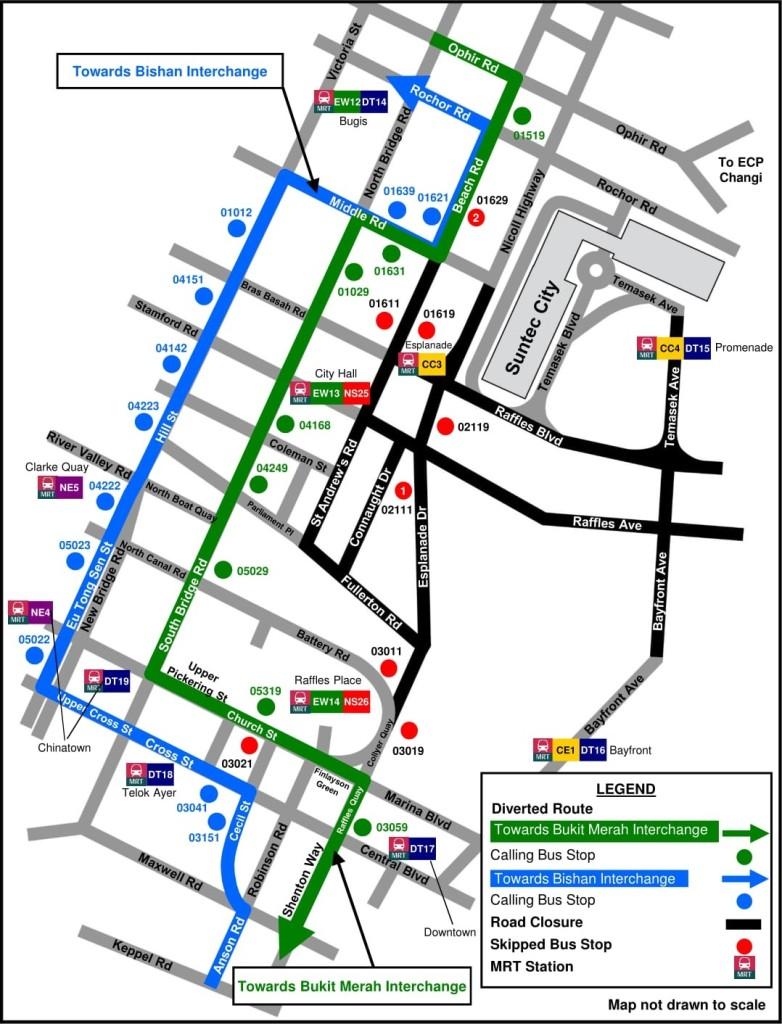 Formula 1 Diversions - Service 57 diversion map