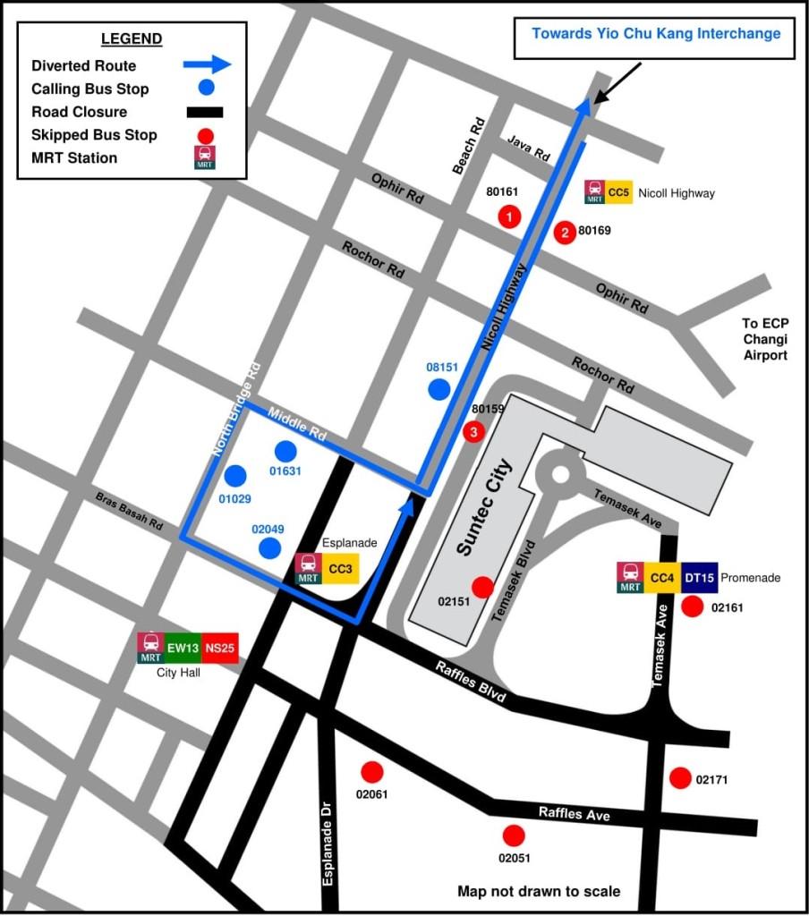 Formula 1 Diversions - Service 70M diversion map