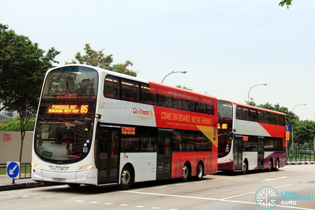Go-Ahead Volvo B9TLs on Service 85 bunching
