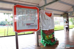 Go-Ahead Singapore Guide Rack at Pasir Ris Bus Interchange, yet to be unwrapped