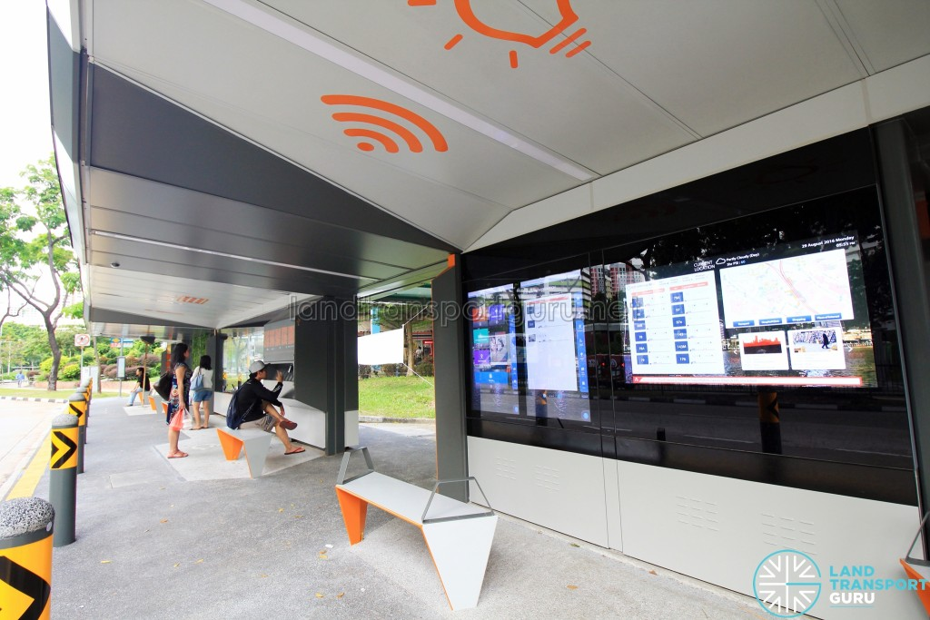Smart Bus Stop interior, featuring interactive screens