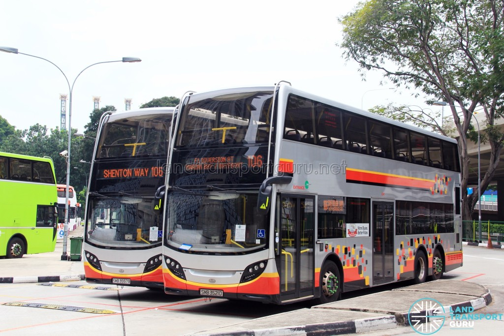Service 106 buses with the F1 Diversion scroll