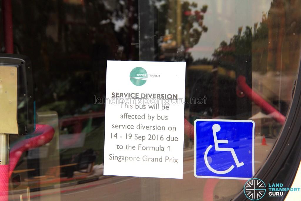 Tower Transit F1 Diversion Notice