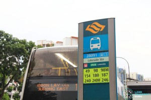 MRT Station bus stop sign in Lush Green