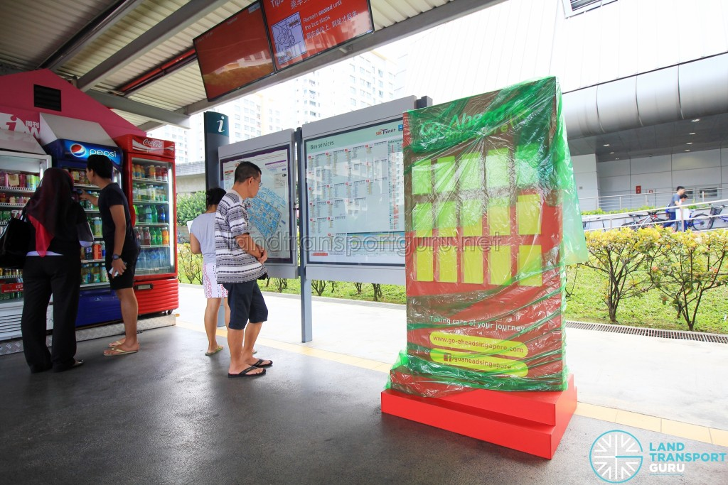 Go-Ahead Singapore Guide Rack at Punggol Temporary Bus Interchange, yet to be unwrapped (Sep 2016)