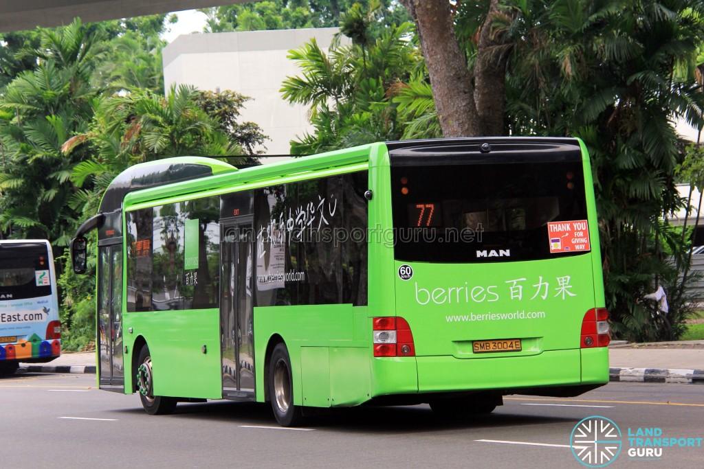 Tower Transit MAN A22 (SMB3004E) - Service 77 - Berries advertisement wrap - rear