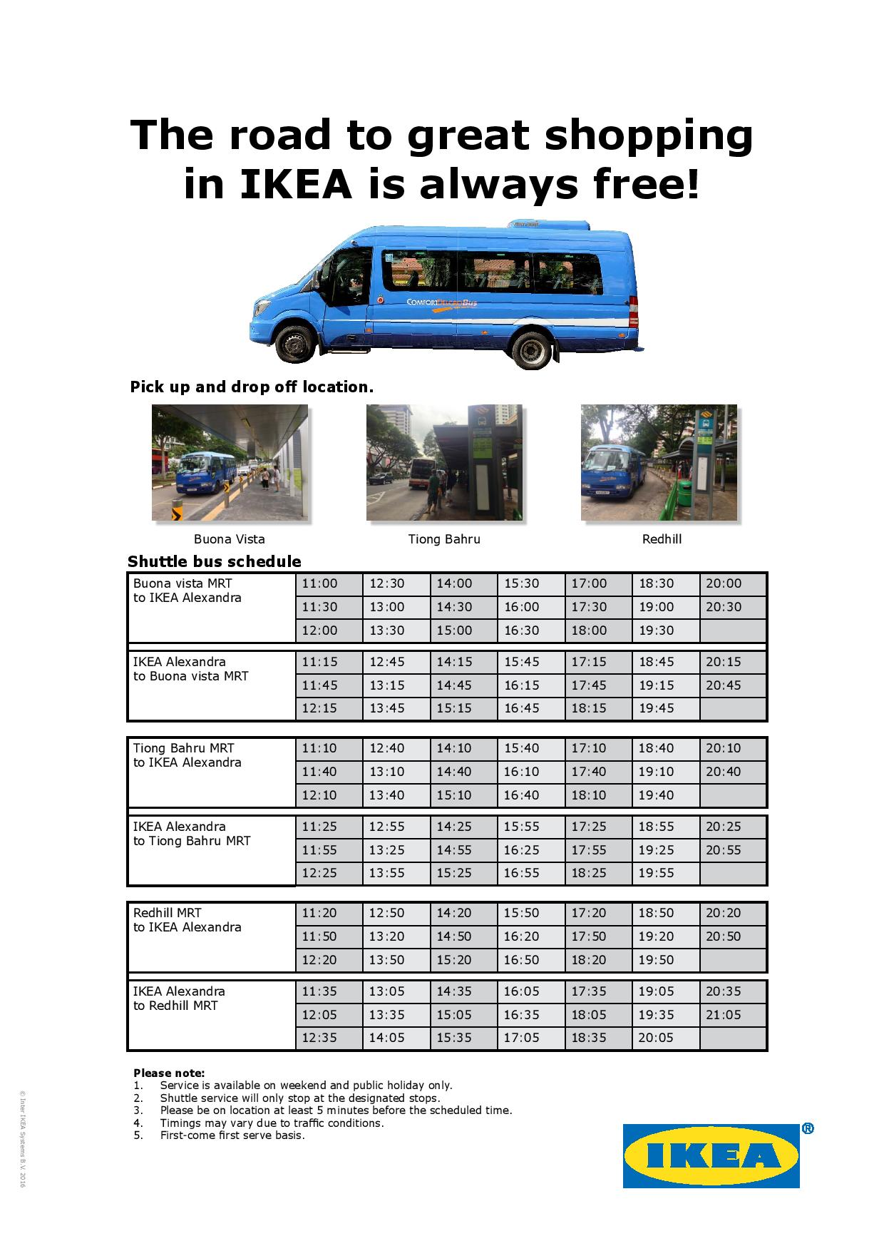 ikea alexandra free shuttle bus services | land transport guru