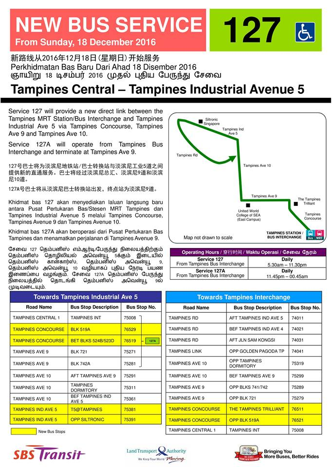 SBS Transit Bus Service 127 - Route Poster
