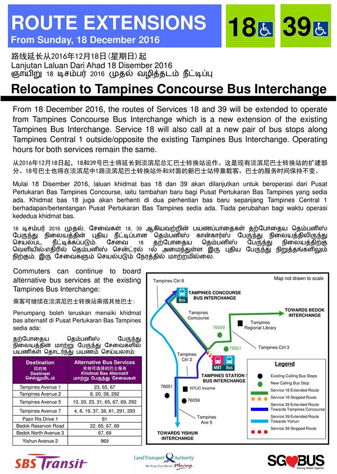 Bus Services 18 & 39 - Relocation to Tampines Concourse Bus Interchange Poster