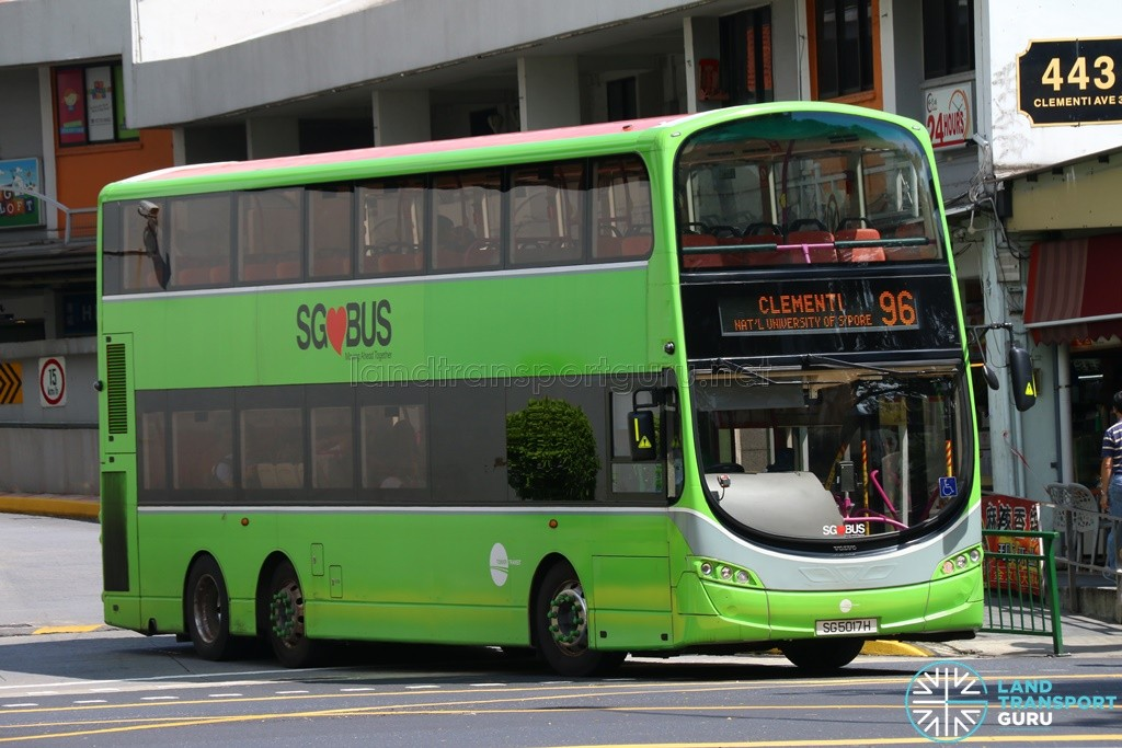 Tower Transit Volvo B9TL Wright (SG5017H) – Service 96, with a one-off trial Lush Green livery