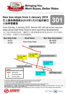 Route Extension to Keat Hong Close Poster for Service 301