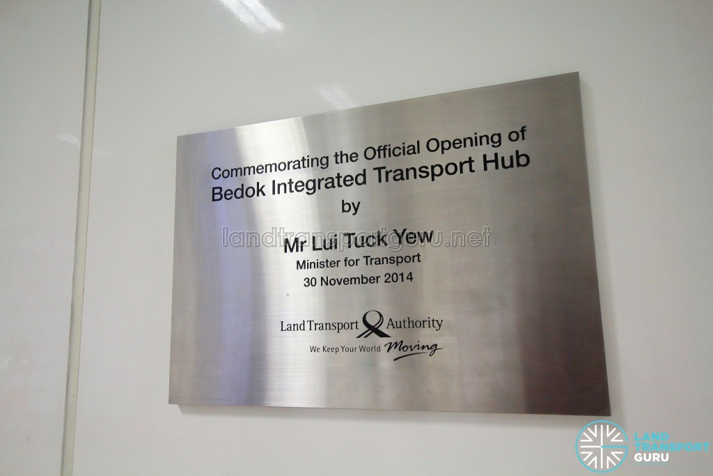 Bedok Bus Interchange - Opening plaque