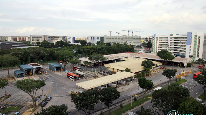 Bedok North Depot - Overhead view of bus wash, refuelling area, offices and workshop building