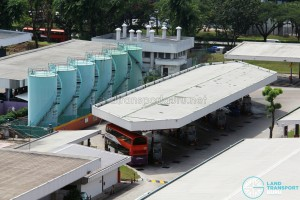 Aerial view of Bukit Batok Bus Depot refuelling point with diesel storage tanks