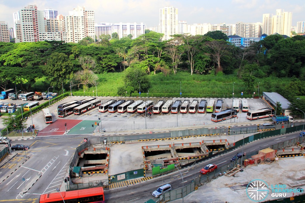 Aerial view of Bukit Panjang Temporary Bus Park as seen from Blk 632B Senja Road, with the Downtown Line (DTL) under construction in the foreground
