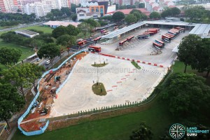 Hougang Central Bus Interchange Expansion: Completed expansion days before opening. Additional lots are expected to be painted over the old exit lanes