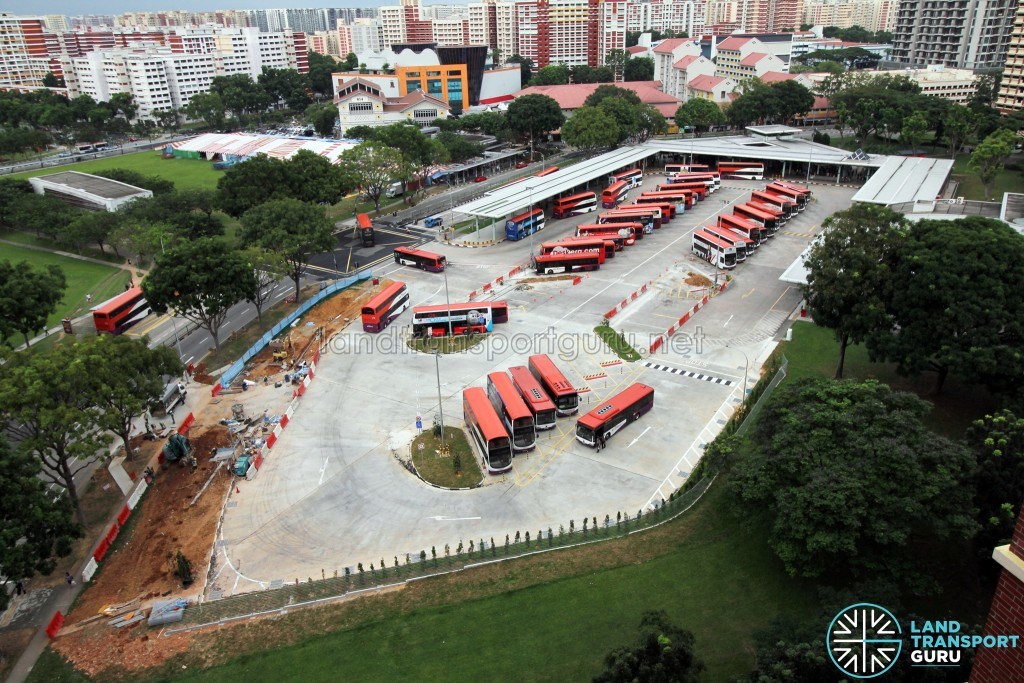 Hougang Central Bus Interchange Expansion - Completed expansion days after opening. Additional lots are being painted over the old exit lanes