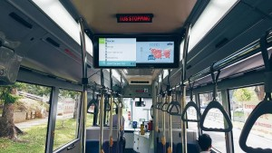A press photo of the PIDS at launch, lacking estimated arrival timings at bus stops