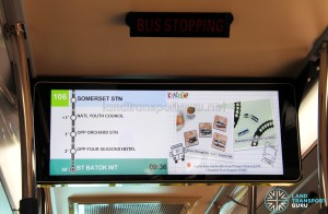 The PIDS scrolls through the route details automatically. The right panel cycles through LTA commercials.