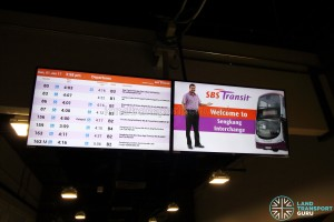 Sengkang Bus Interchange - Departure timings screen