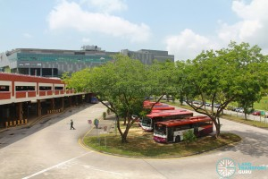 Old Serangoon Bus Interchange in 2011, prior to its closure. View of bus park and sawtooth berths from elevated carpark.