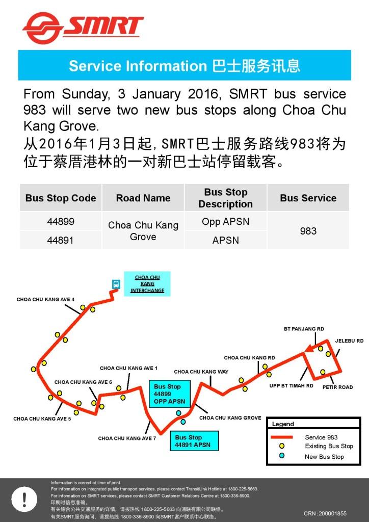 Service 983: New bus stops in Jan 2016