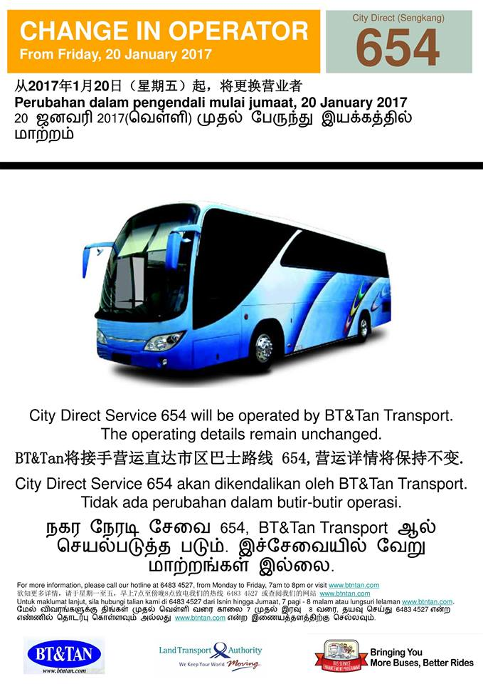 Change of Operator for City Direct 654 from 20 Jan 2017