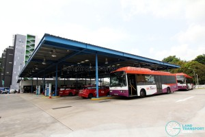 SBS Transit's CNG-powered Volvo B10BLE buses refuelling at Toh Tuck CNG Station
