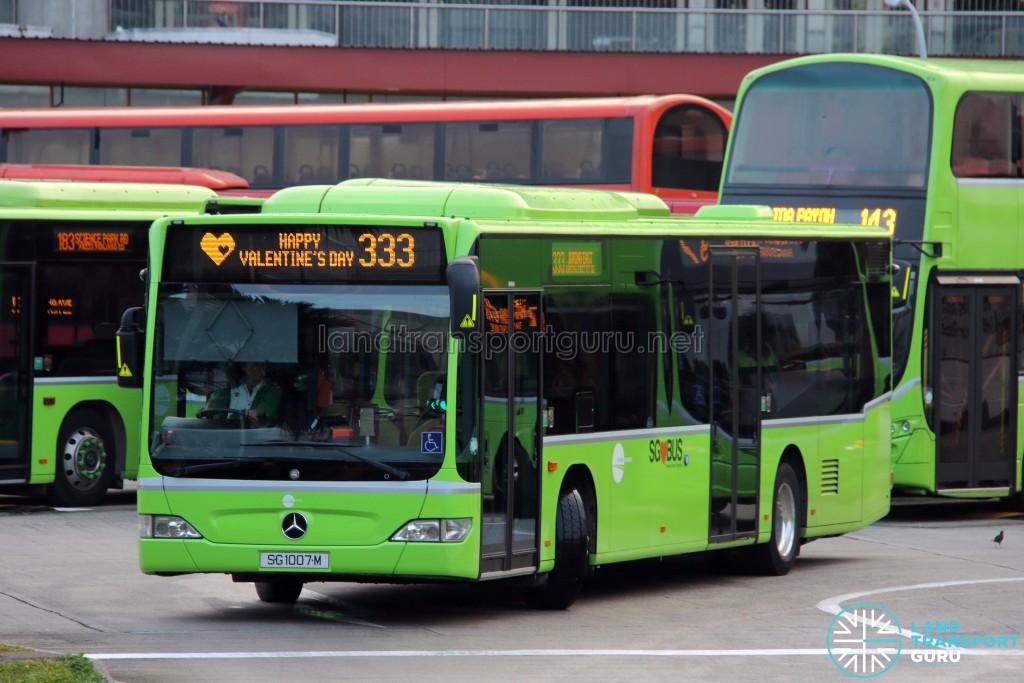 Tower Transit Mercedes-Benz Citaro (SG1007M) - Service 333, with Valentine's Day EDS scroll