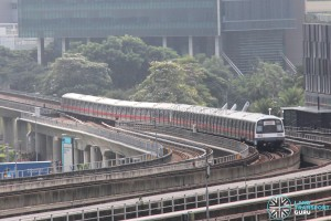 SMRT C151 train sets 027/028 and 037/038 coupled together, heading towards Ulu Pandan Depot