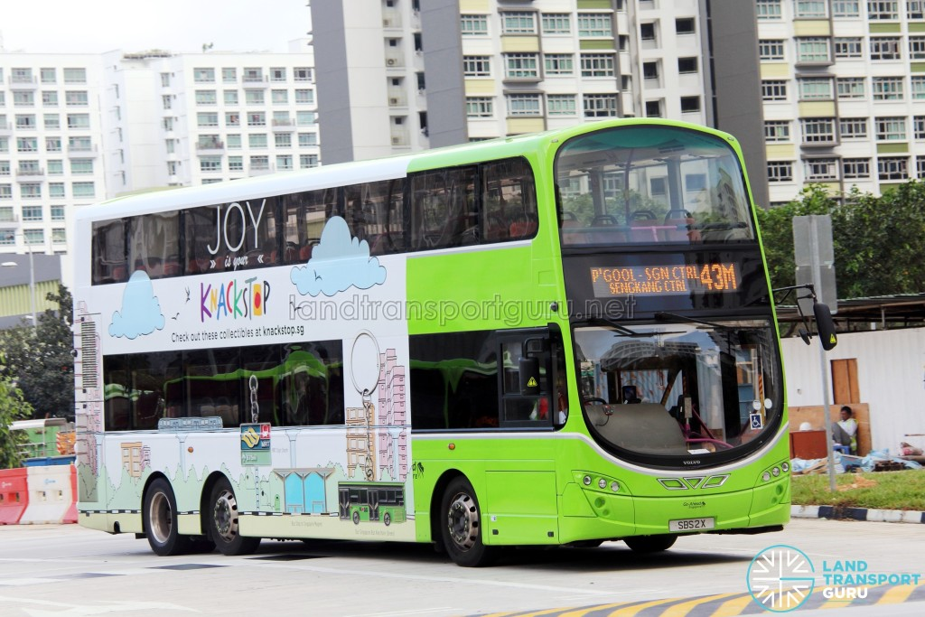 Go-Ahead Volvo B9TL Wright (SBS2X) - Service 43M, with advertising wrap for Knackstop