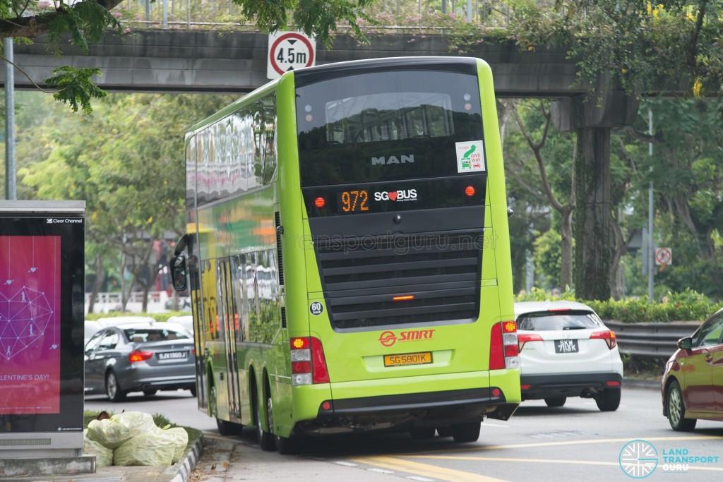 Rear of SMRT MAN A95 (SG5801K) - Service 972