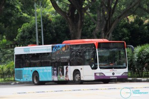 SBS Transit Mercedes-Benz Citaro (SBS6603Y), featuring two-thirds commercial advertising