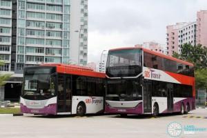 SBS Transit Training Buses - Scania K230UB (SBS8103K) and Scania K310UB (SBS7888K) side-by-side, both bodied by Gemilang Coachworks