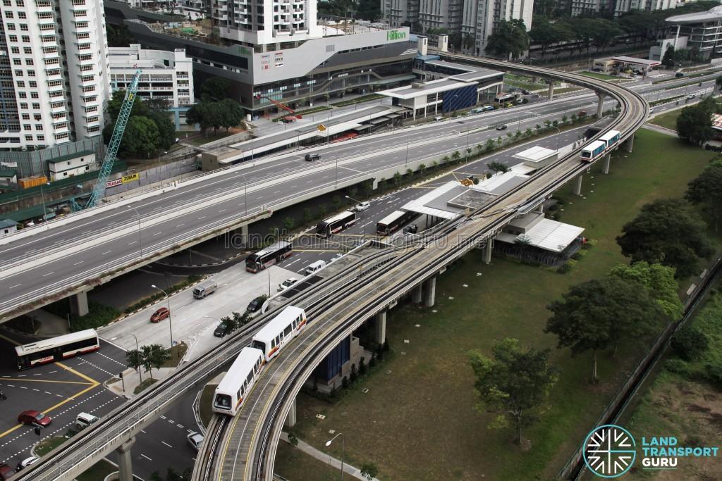 Ten Mile Junction Station/Depot: Bukit Panjang bound reception track at bottom left