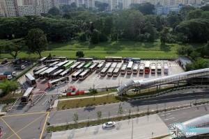 Bukit Panjang Temporary Bus Park - Overhead view