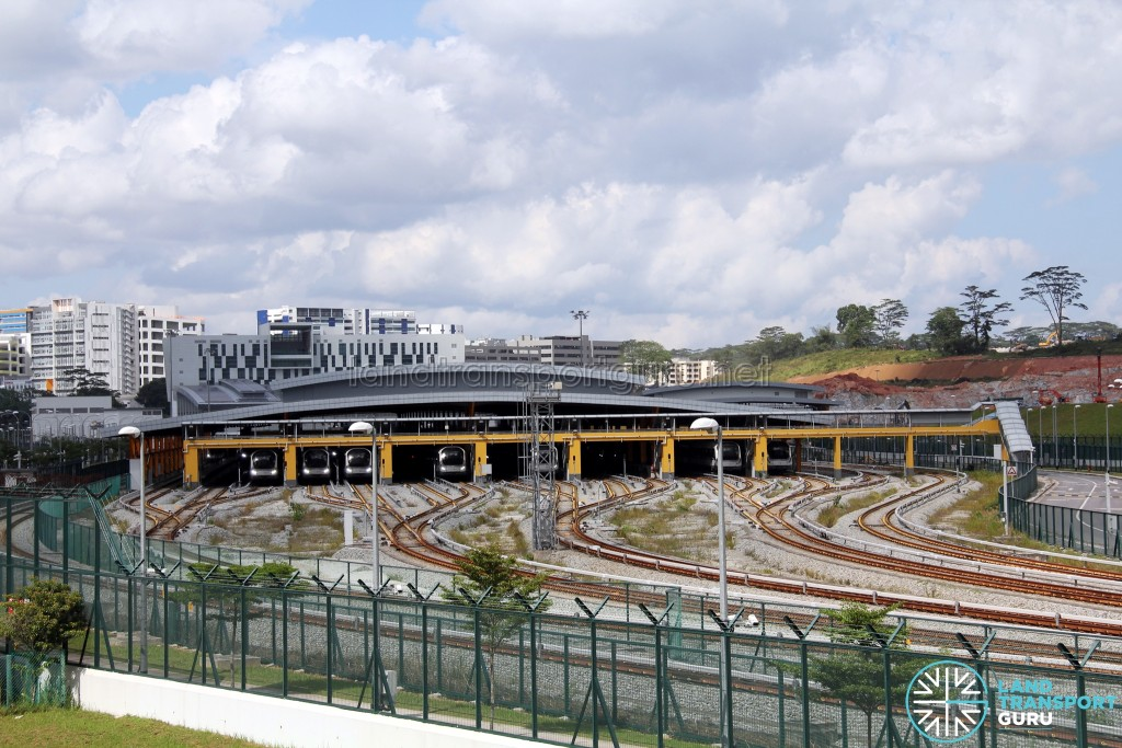 Gali Batu MRT Depot - Overhead view of Train Stabling area