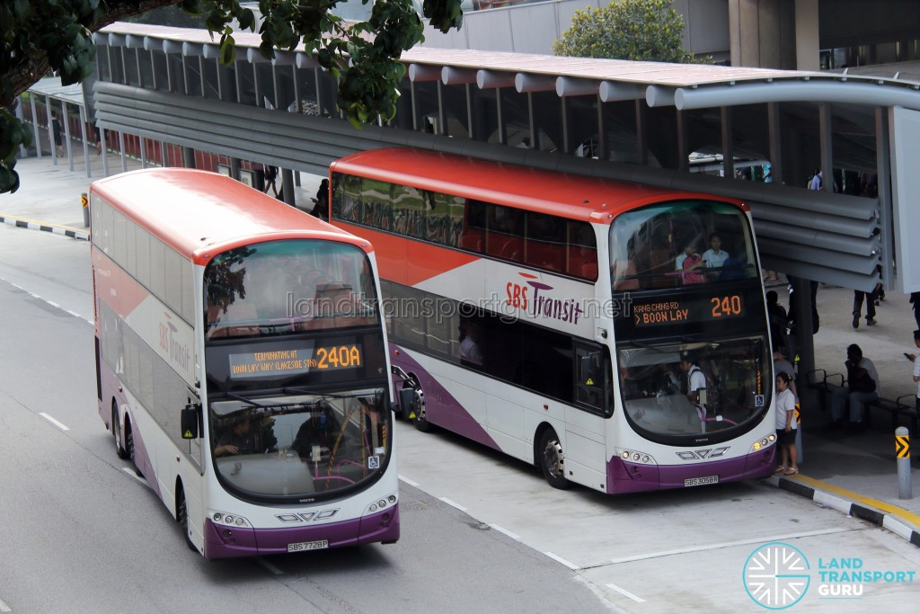 SBS Transit Short Trip Service 240A and its parent Service 240 outside Lakeside MRT Station