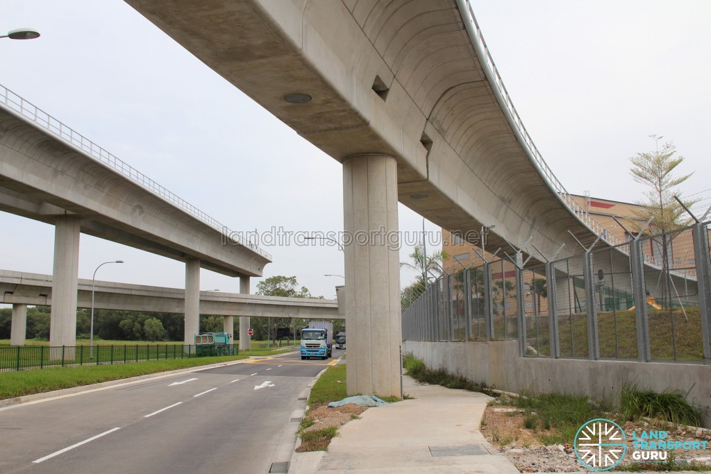 Tuas West Depot - Reception Tracks from Tuas Link MRT Station and overrun tracks on the left