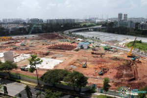 Ulu Pandan Bus Depot - Overhead view of Bus Depot under construction and completed Bus Park in the background