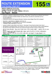 Bedok Route Extension Poster for Bus Service 155