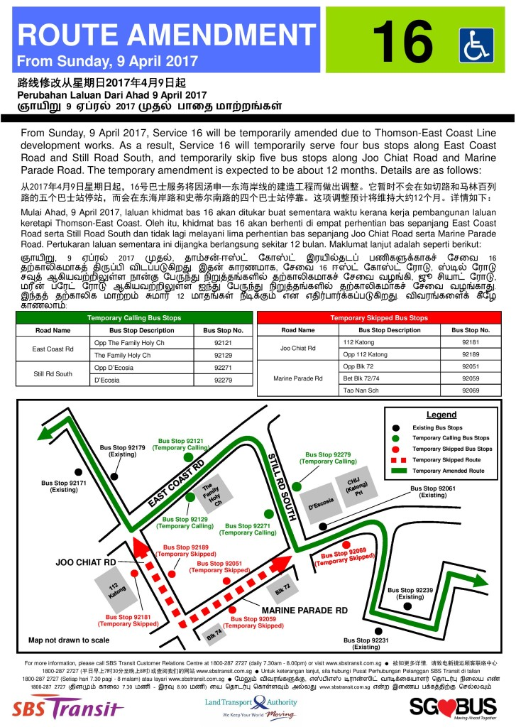 Temporary Route Amendment for Bus Service 16 Poster