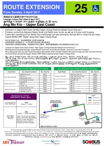 Upper East Coast Route Extension Poster for Bus Service 25