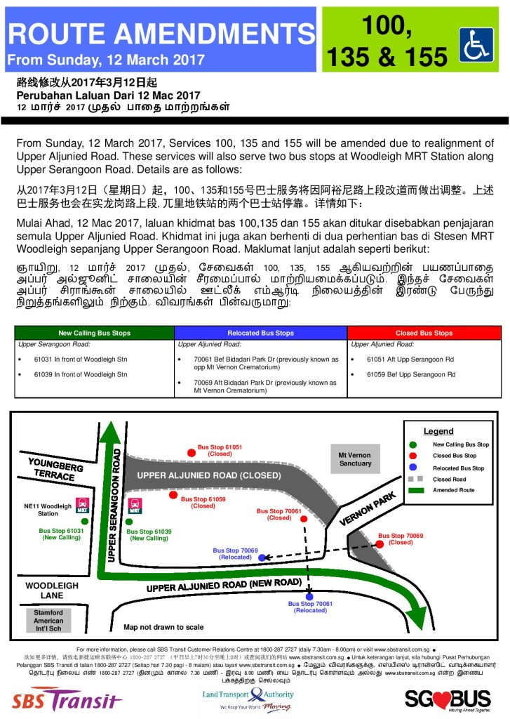 Realignment of Upp Aljunied Rd from 12 Mar 2017 for Bus Services 100, 135 & 155