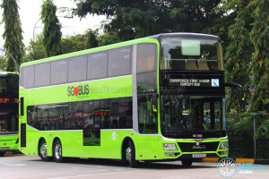 MAN Lion's City DD L Concept Bus (SG5999Z) - Displaying 'Singapore's First 3-door Concept Bus' and LTA logo in colour