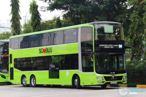 MAN Lion's City DD L Concept Bus (SG5999Z) - Displaying 'Singapore's First 3-door Concept Bus' and MAN logo